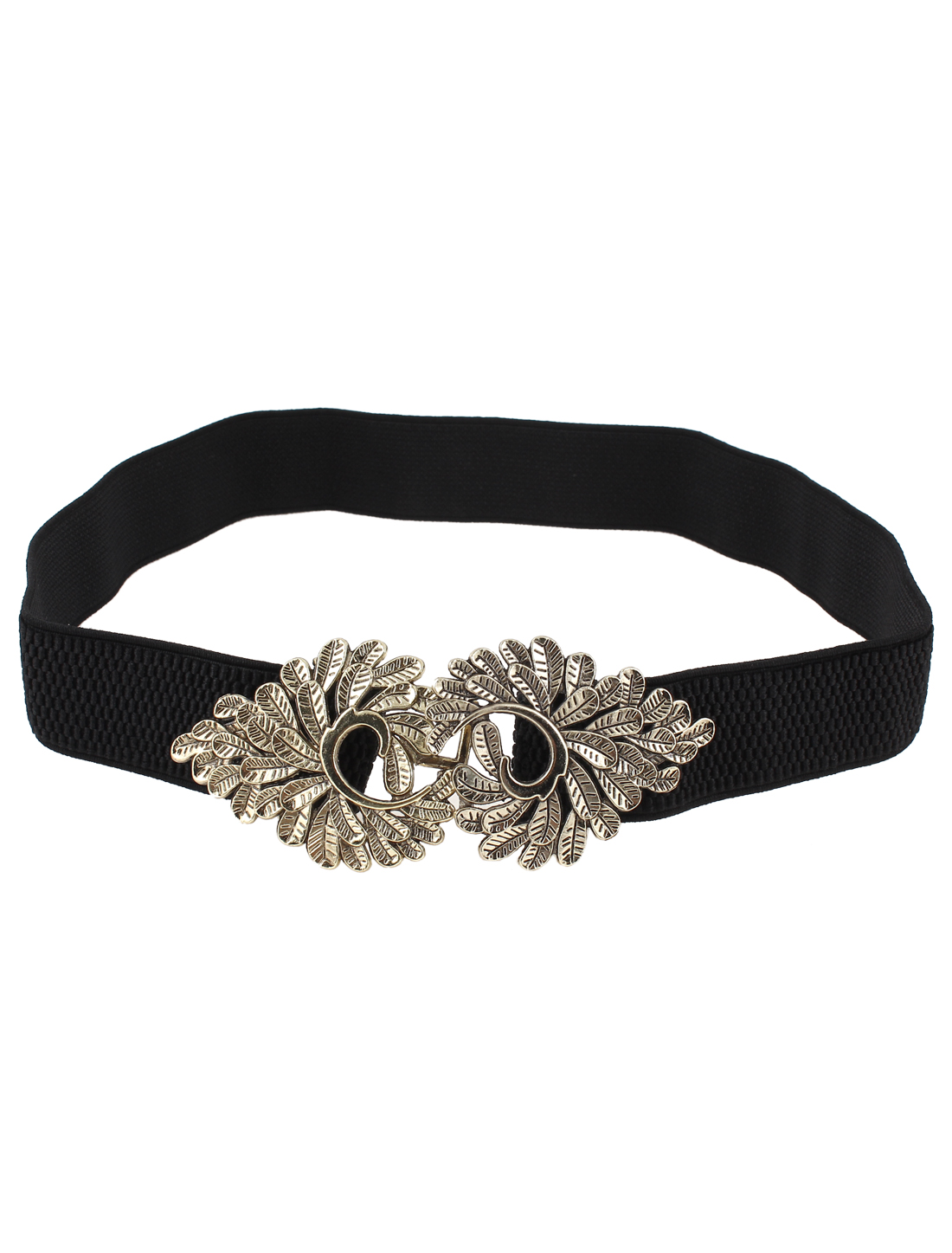 Woman Metal Leaf Shaped Adorning Interlocking Buckle Elastic Waistband Belt