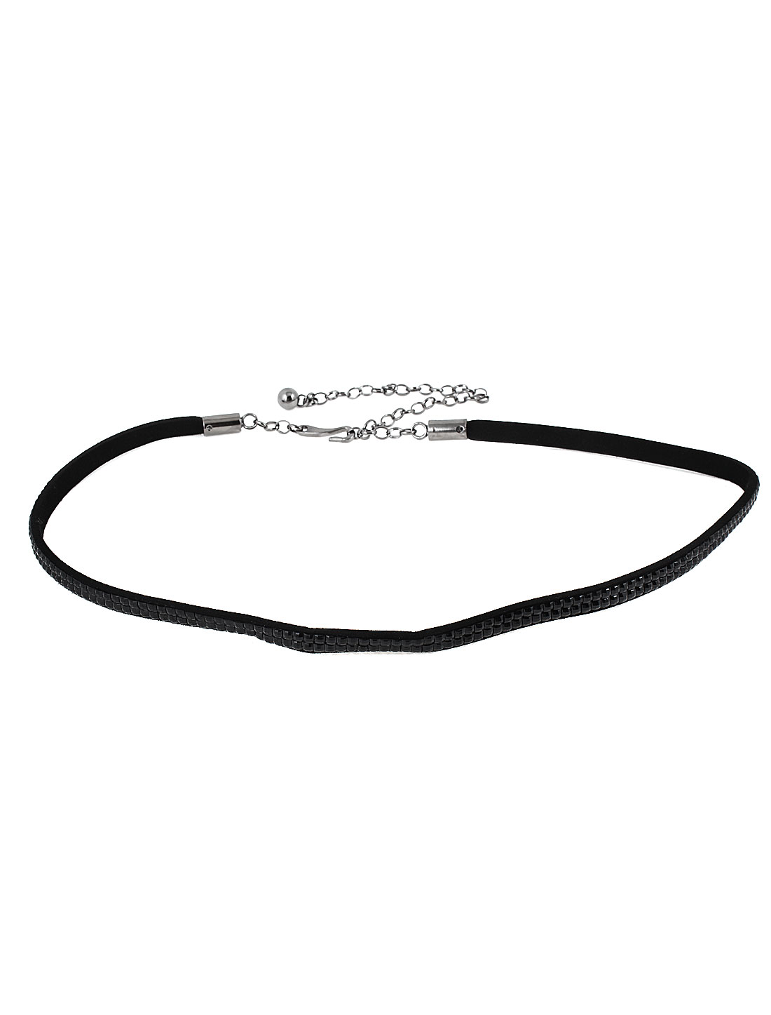 Woman Lady Metal Hook Closure Faux Rhinestones Inlaid Black Slim Waist Chain Belt