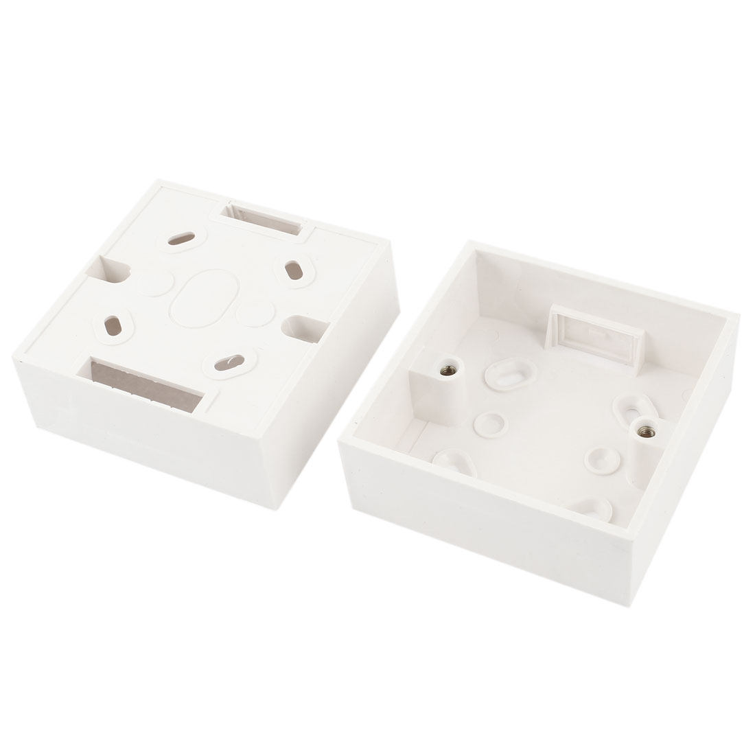 2pcs AC 250V 10A Surface Type White PVC Mount Back Box for Wall Socket