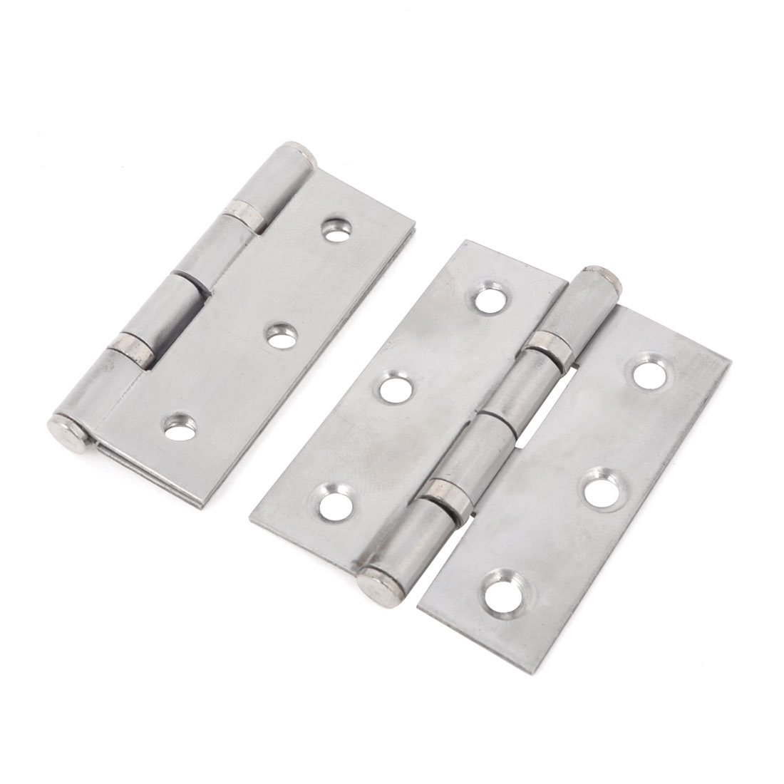 2 Pcs Silver Tone Stainless Steel Cabinet Door Butt Hinges 2""