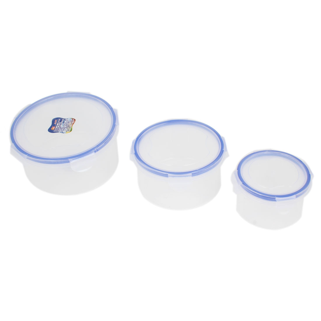 Kitchenware Round Shape Airtight Blue Clear Plastic Food Storage Box 3pcs