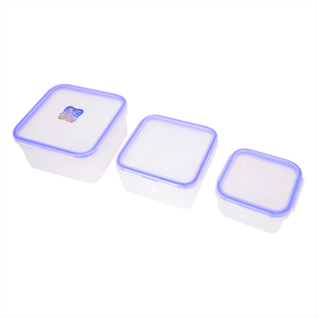 Square Shaped Blue Clear Plastic Airtight Food Storage Box 3pcs