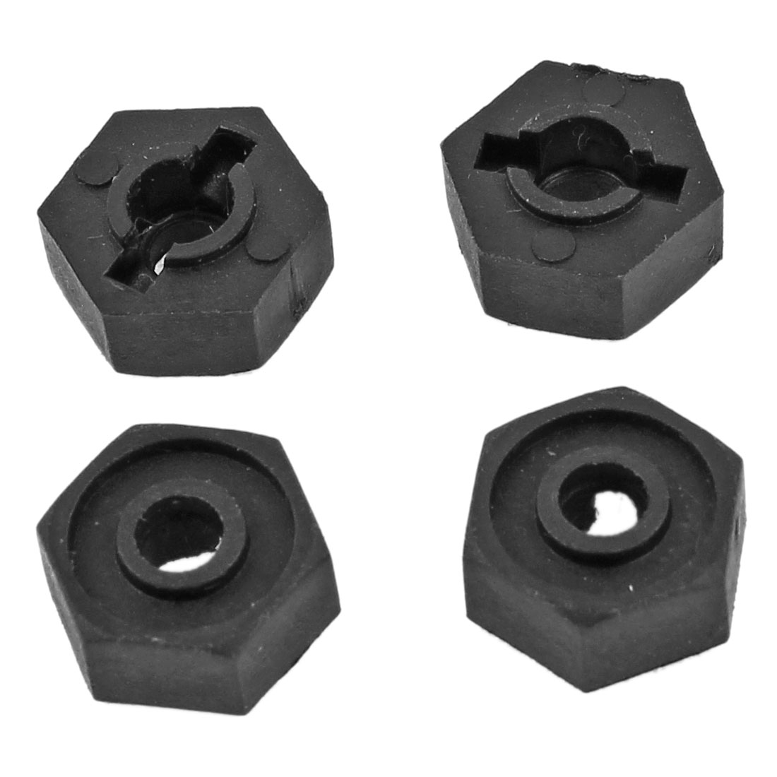 4Pcs 02100 Black Plastic Wheel Hex 12mm Dia Mount for RC 1/10 Car