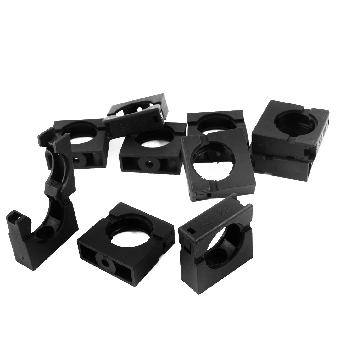 10pcs 25mm Corrugated Tubing Black Plastic Fixed Mount Bracket