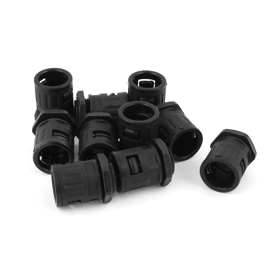 AD18.5 PG13.5 Plastic Flexible Round Cable Hose Connector Black 10 pcs