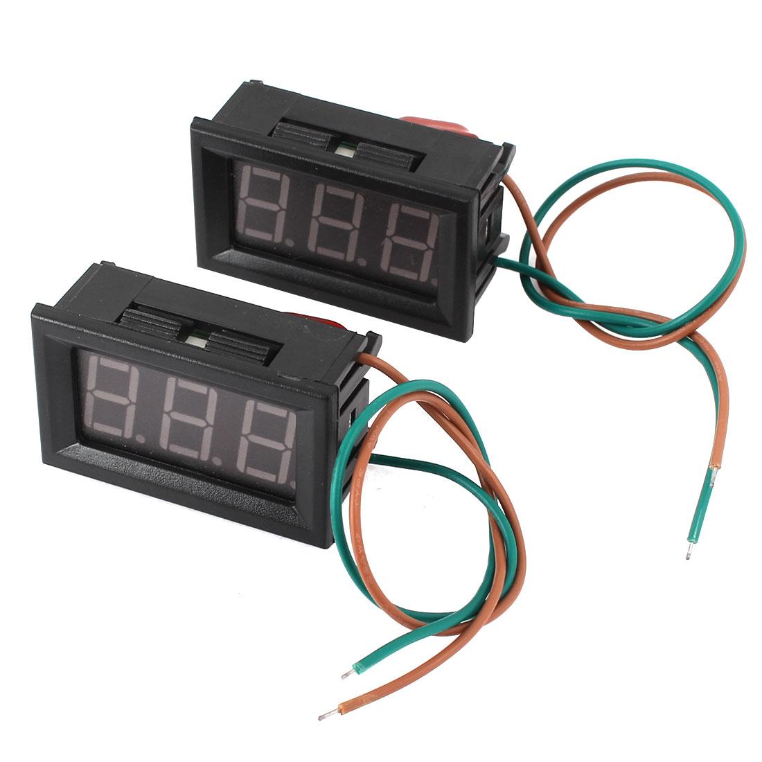 2pcs AC 220V Measuring Range 2-Wired Connect Red LED Digit Voltmeter