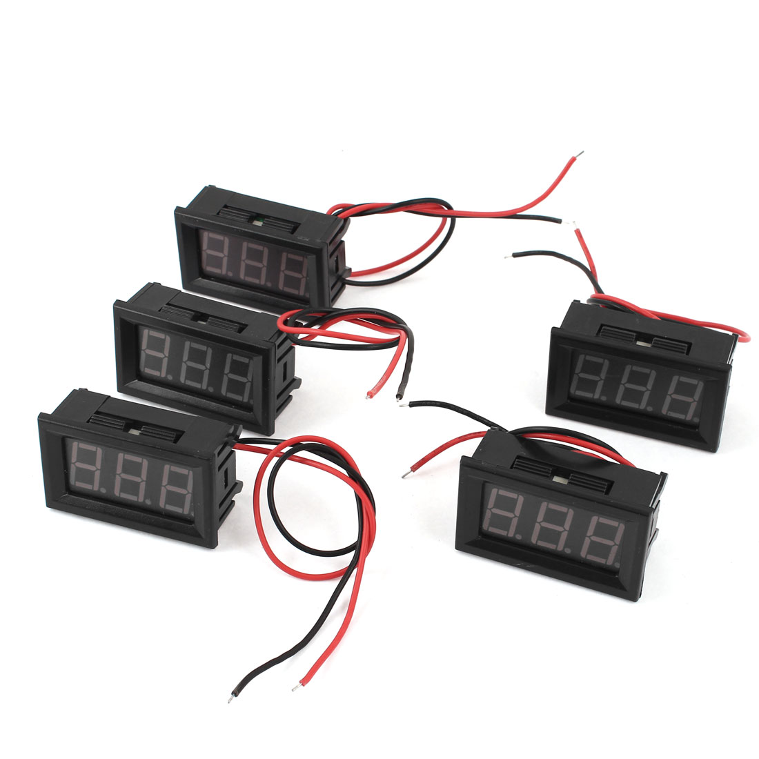 5pcs DC 6-12V Measuring Range 2 Wire Connect Red LED Digit Voltmeter