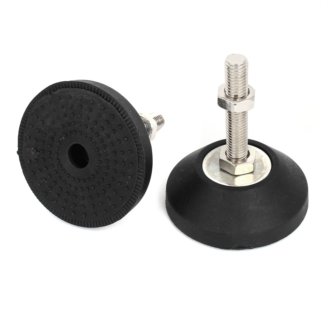 2pcs Machine Furniture M12 x 70mm Threaded Leveling Feet Foot Mounts Pad Mat