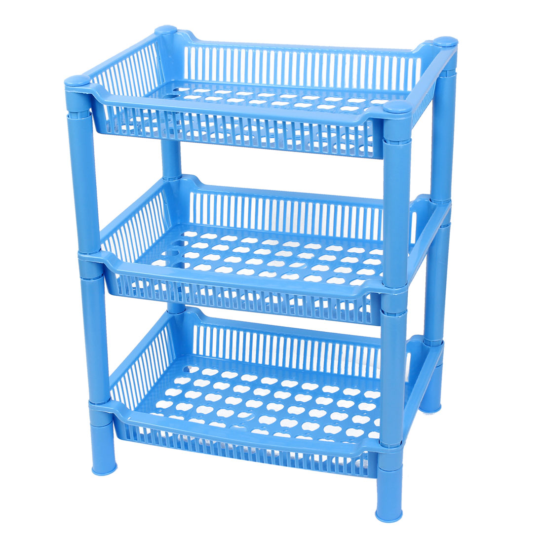 Home Kitchen Blue Retangle Plastic 3 Layers Shelf Storage Rack Organizer Holder
