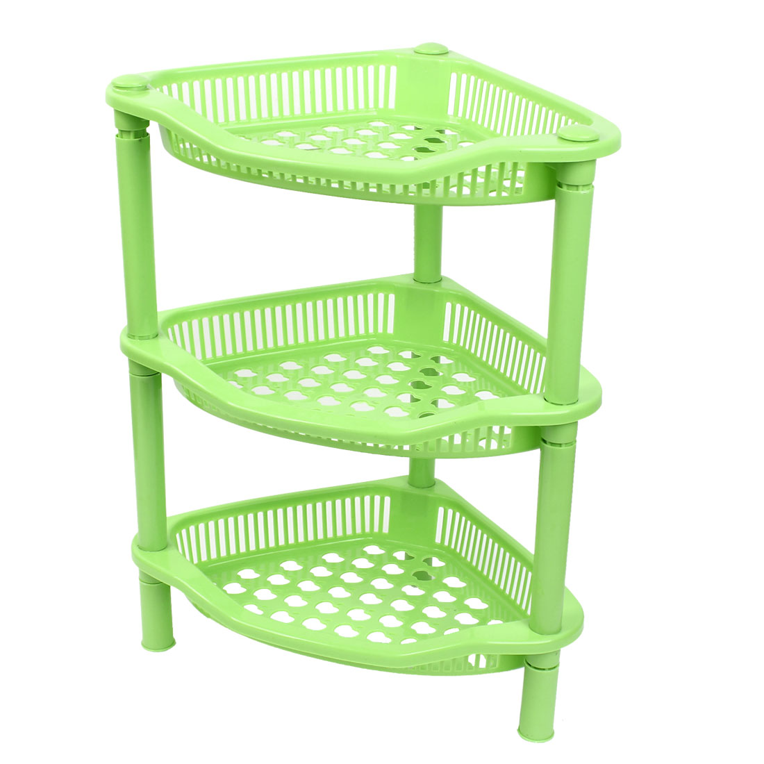Household Plastic Triangle Shaped 3 Layers Shelf Storage Rack Organizer Green