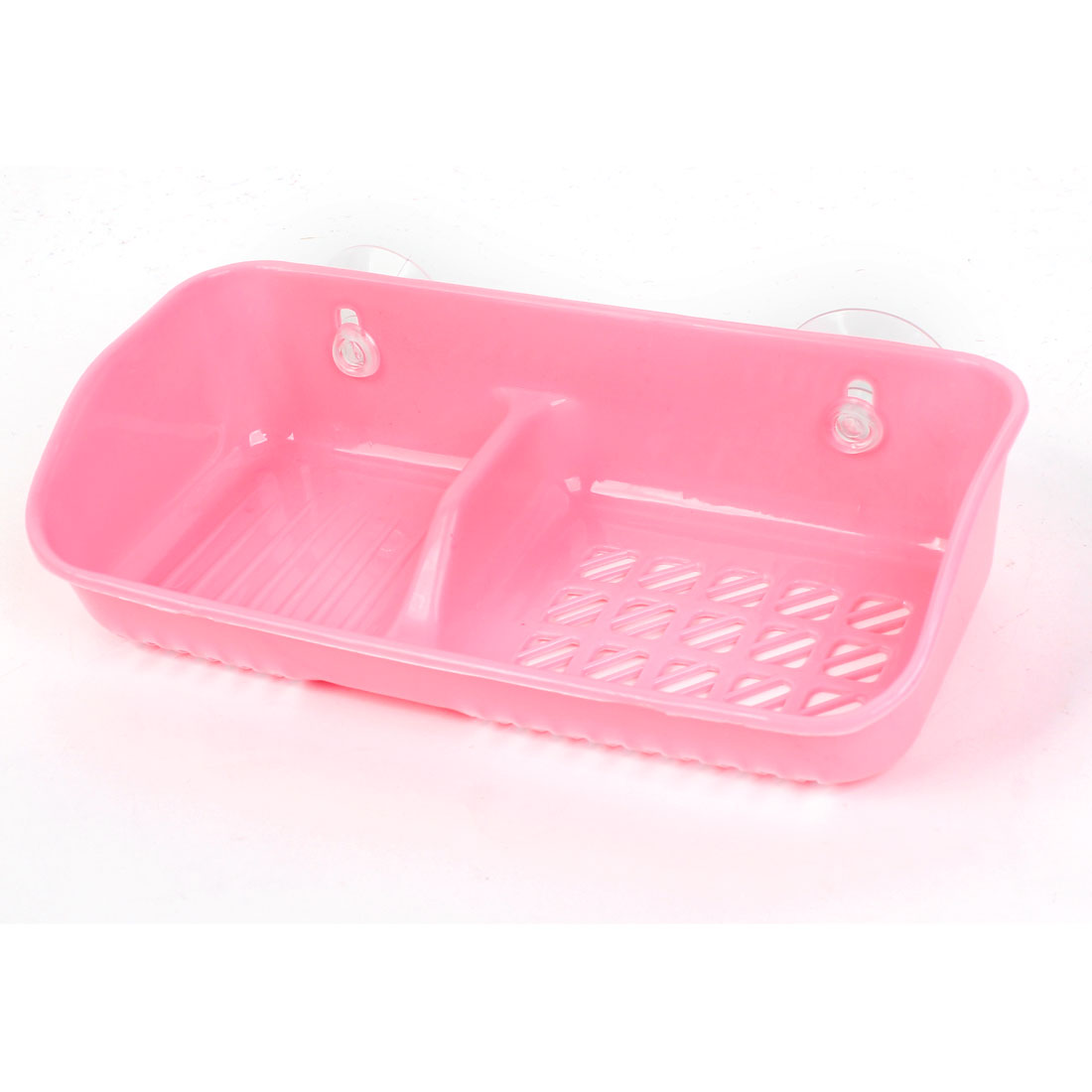 Pink Plastic Hollow Out 2 Comparments Bottom Soap Case Box Holder w Suction Cup