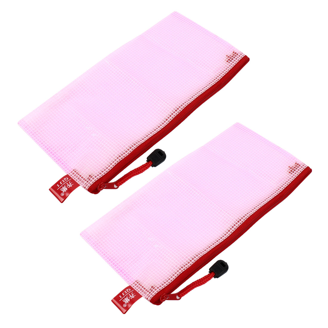 2 Pcs Mesh Design A6 Paper Pen Holder Zippered PVC File Folder Bags Pink
