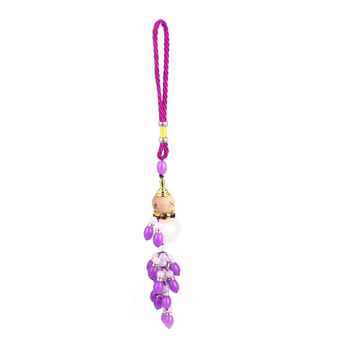 Nylon Stripe Purple Plastic Beads Linked Calabash Pendant Auto Hanging Ornament