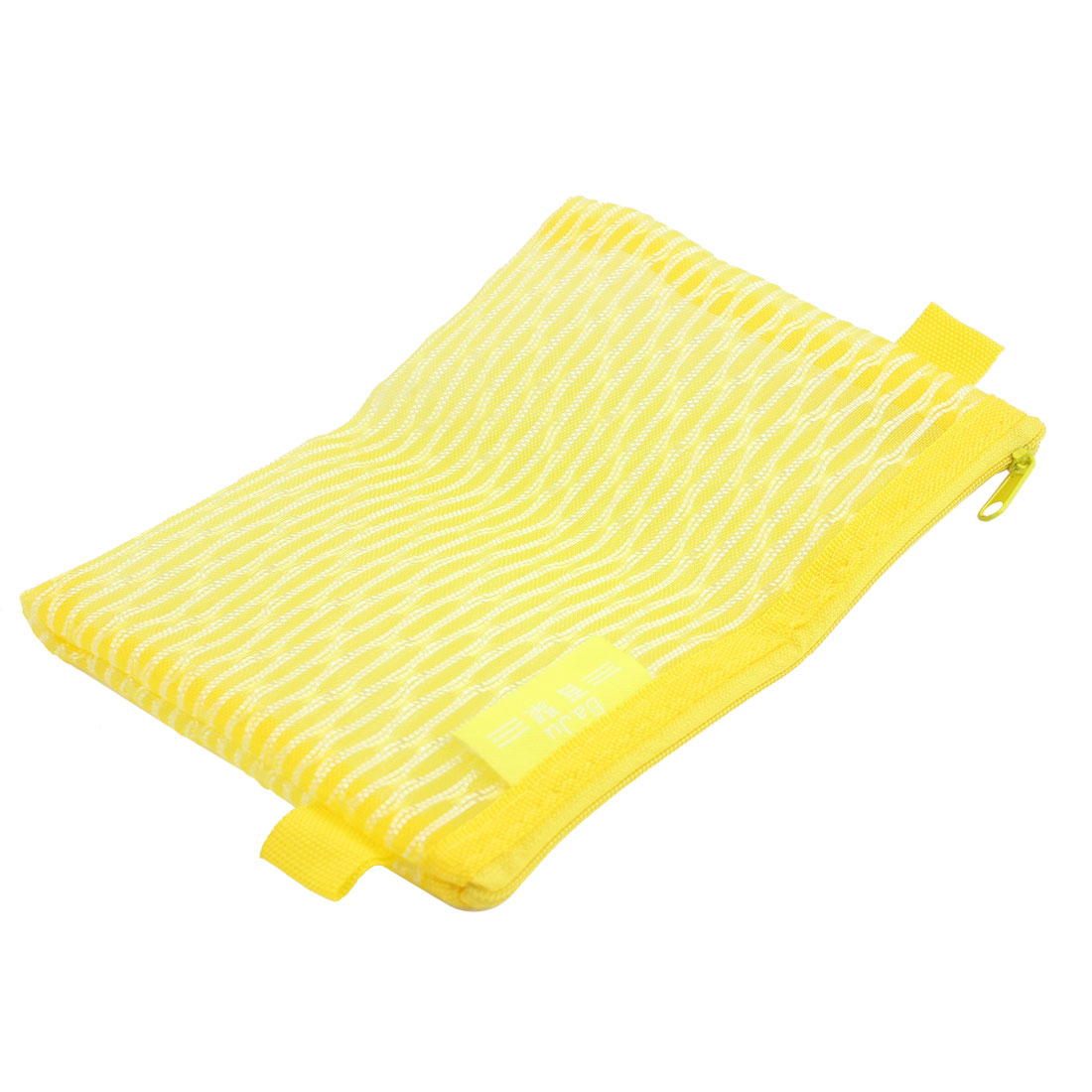 Mesh Design Zipper Closure File Bag Office Document Holder Organizer Yellow