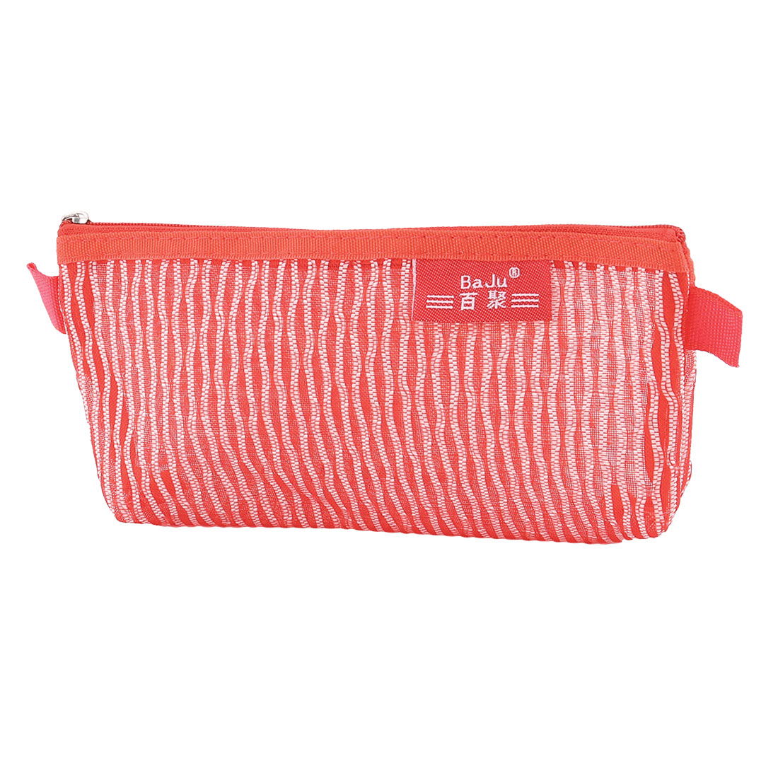School Nylon Meshy Zippered Pen Pencil Bag Holder for Pouch Red