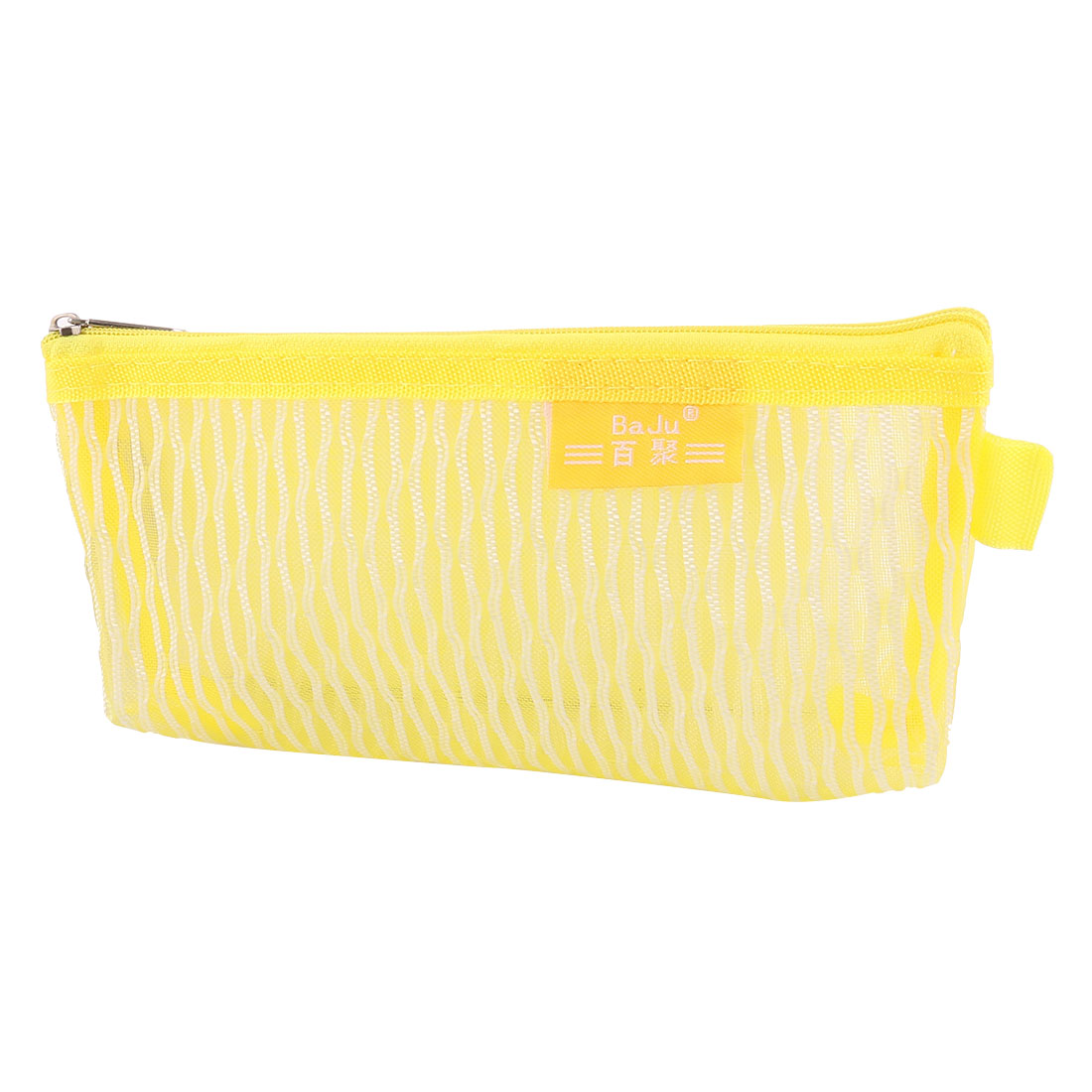 School Nylon Meshy Zippered Pen Pencil Bag Holder Pouch Yellow