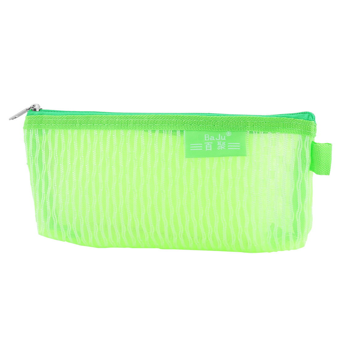 Student Nylon Mesh Zippered Pen Pencil Case Bag Stationery Pouch Holder Green