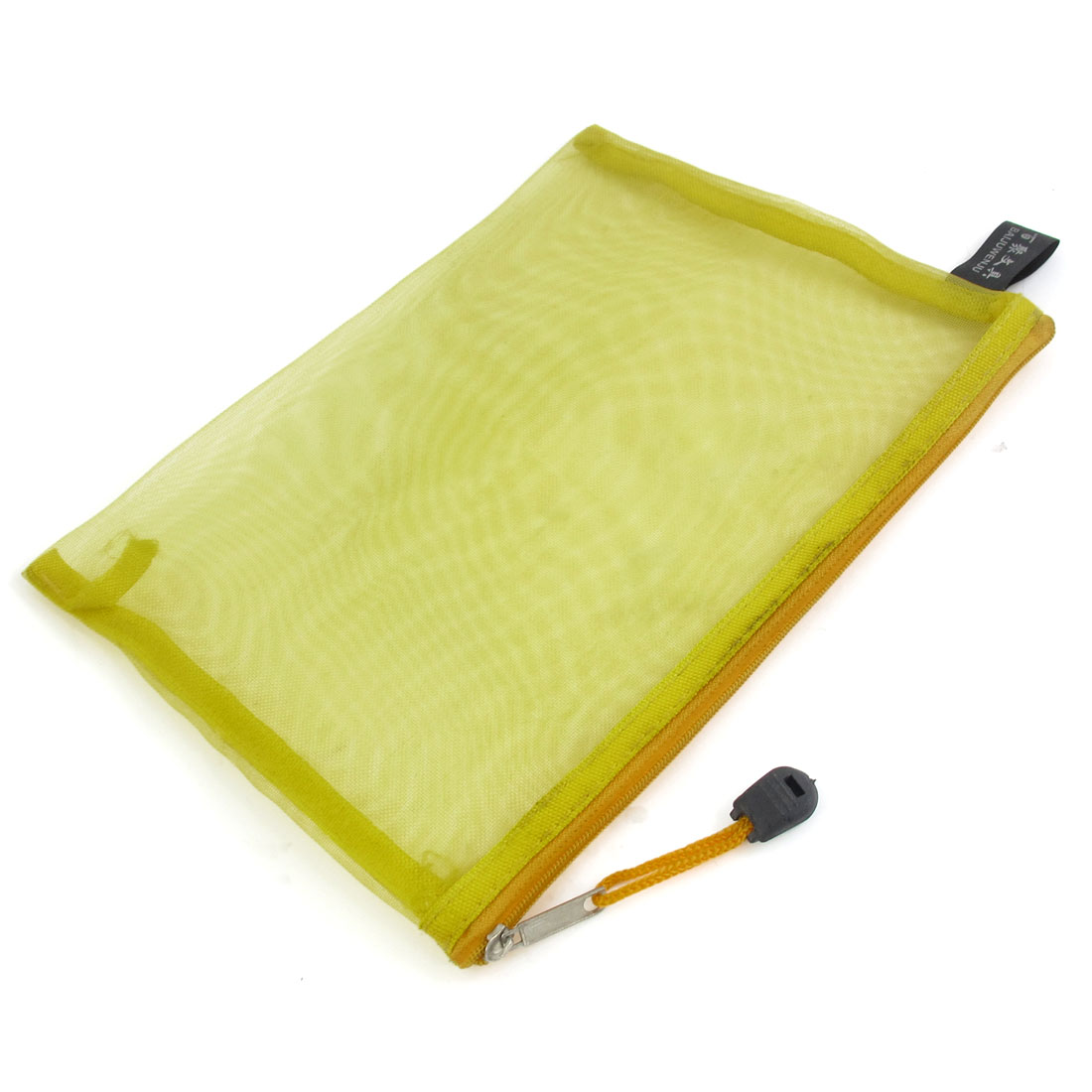 Zip Up Nylon Mesh A5 Paper Document File Pen Bag Holder Organizer Yellow