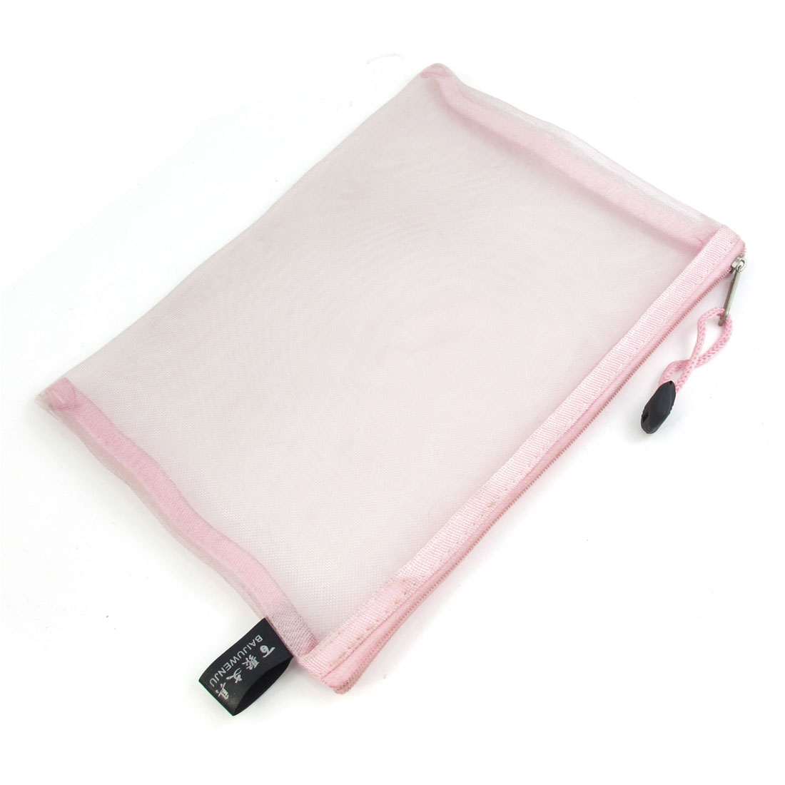 Zip Up Nylon Mesh A5 Paper Document File Pen Bag Holder Organizer Light Pink