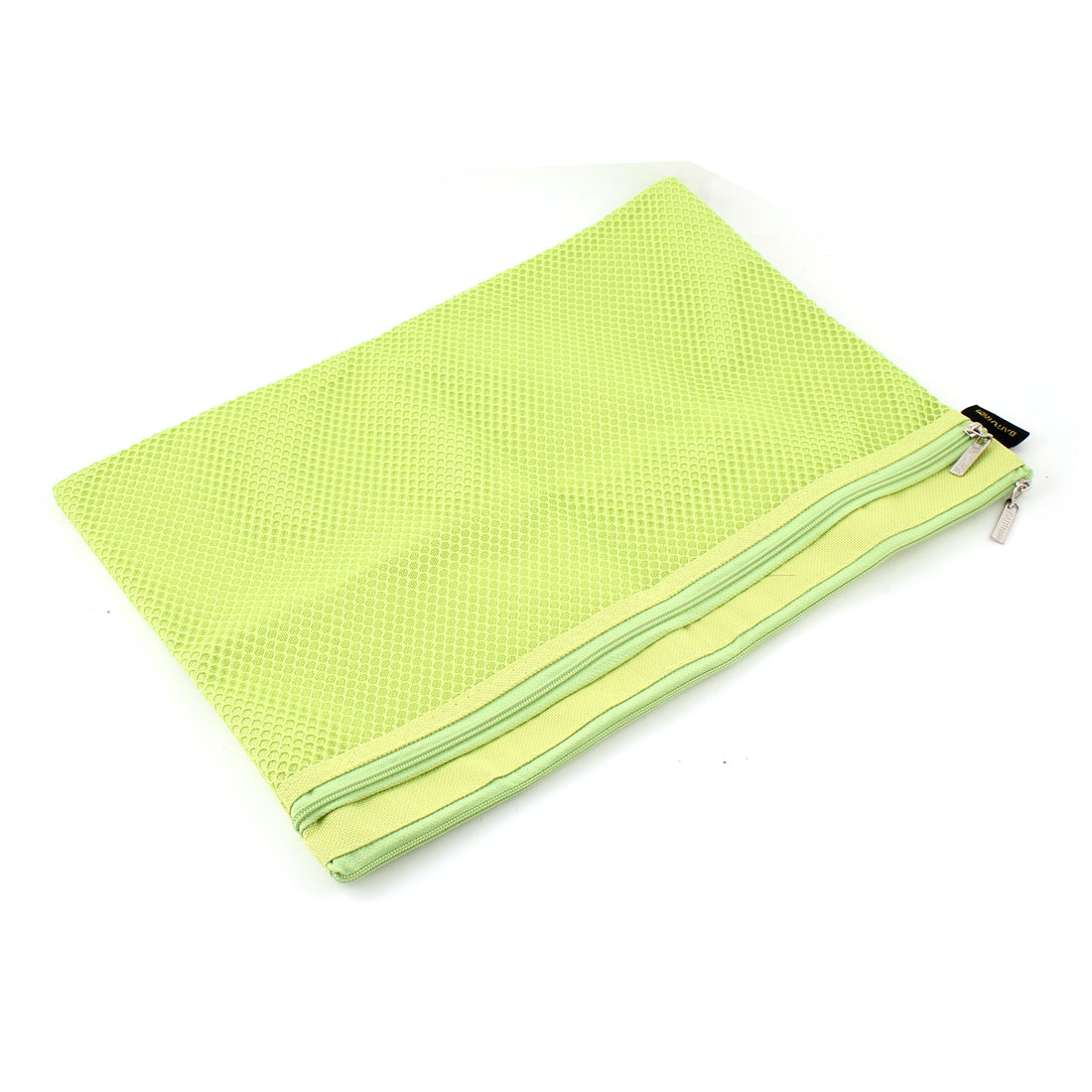 Rectangle Mesh Pattern 2 Layers A4 Paper Files Document Zipper Bag Yellow Green