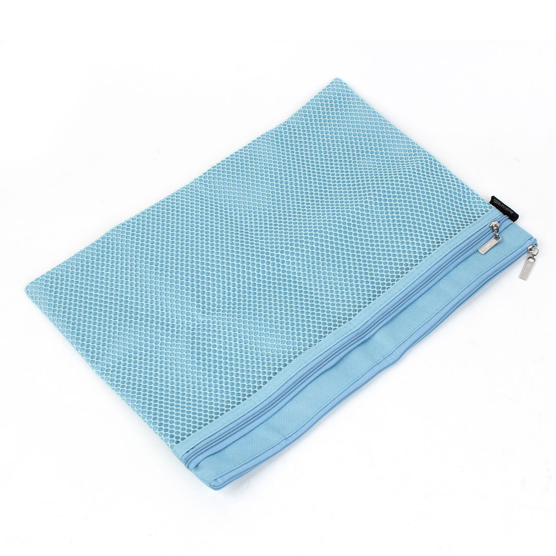 Blue Nylon Net Pattern Zipper Closure A4 Paper Document Files Organizer Bag