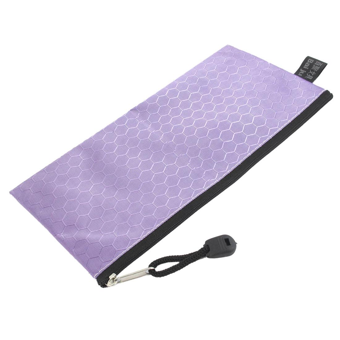 Office School PVC Canvas Zipper Closure Hex Pattern Paper Pen Bag Holder Purple