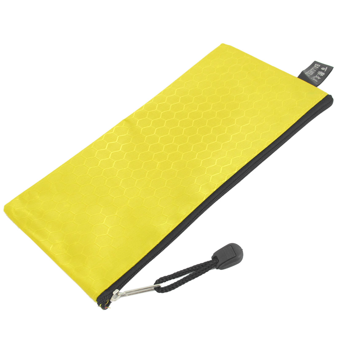 PVC Canvas Zippered Hex Pattern Paper Invoice Pen Bag Tool Holder Yellow