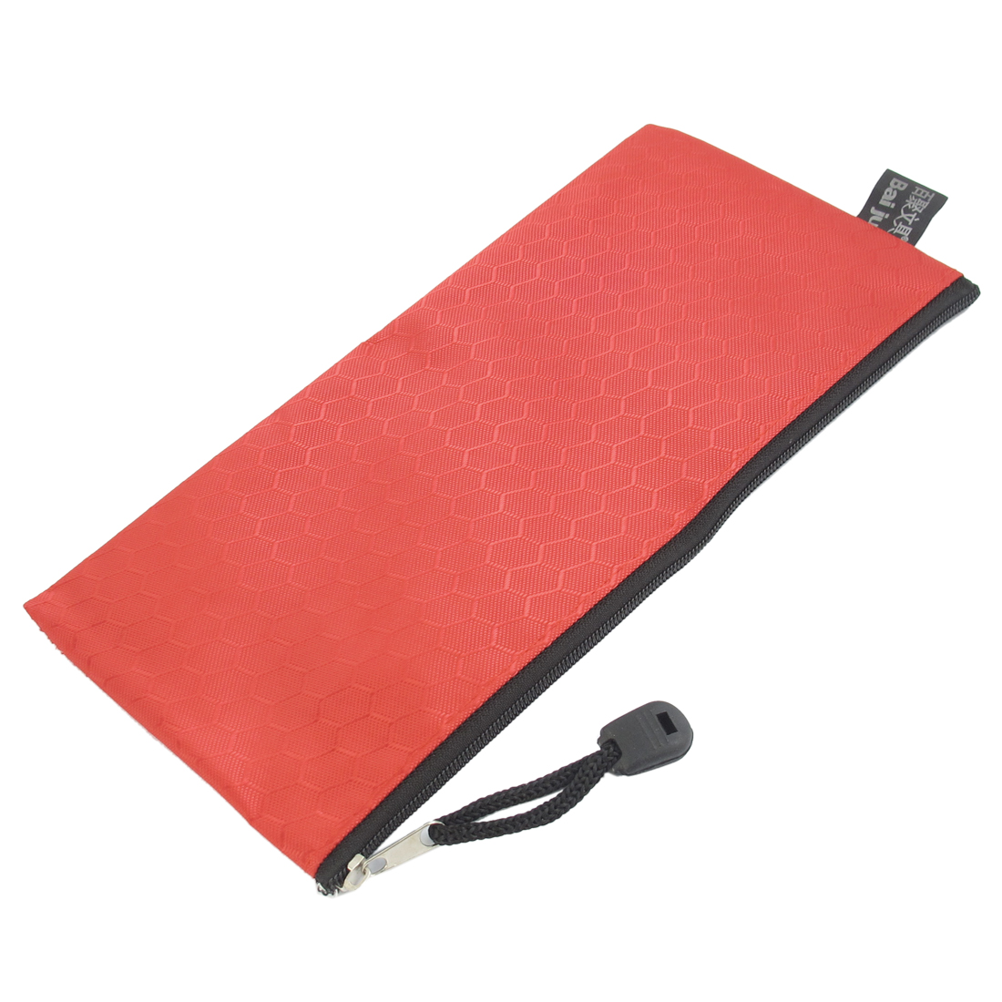 PVC Canvas Zipper Closure Hex Pattern Paper Pen Bag Holder Red