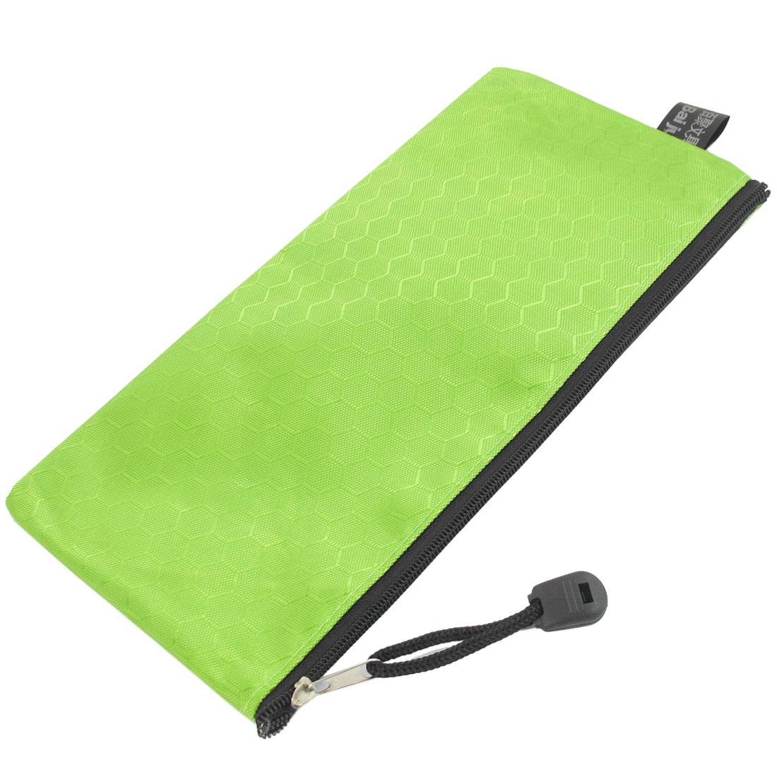PVC Canvas Zipper Closure Cosmetic Paper Pen Pencil Stationery Bag Case Green