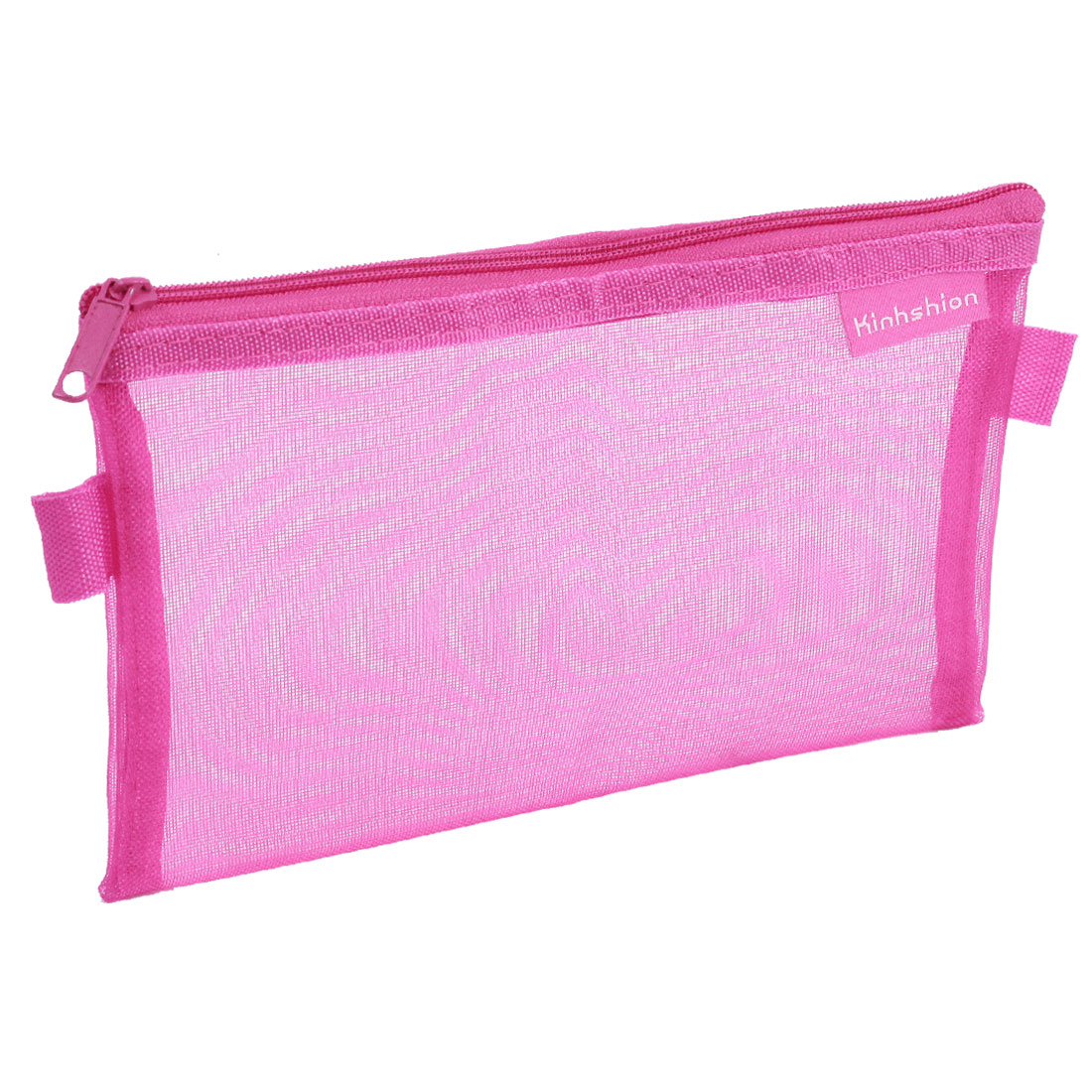 Students Zip up Nylon Mesh Pencil Pen Stationary Holder Case Bag Fuchsia