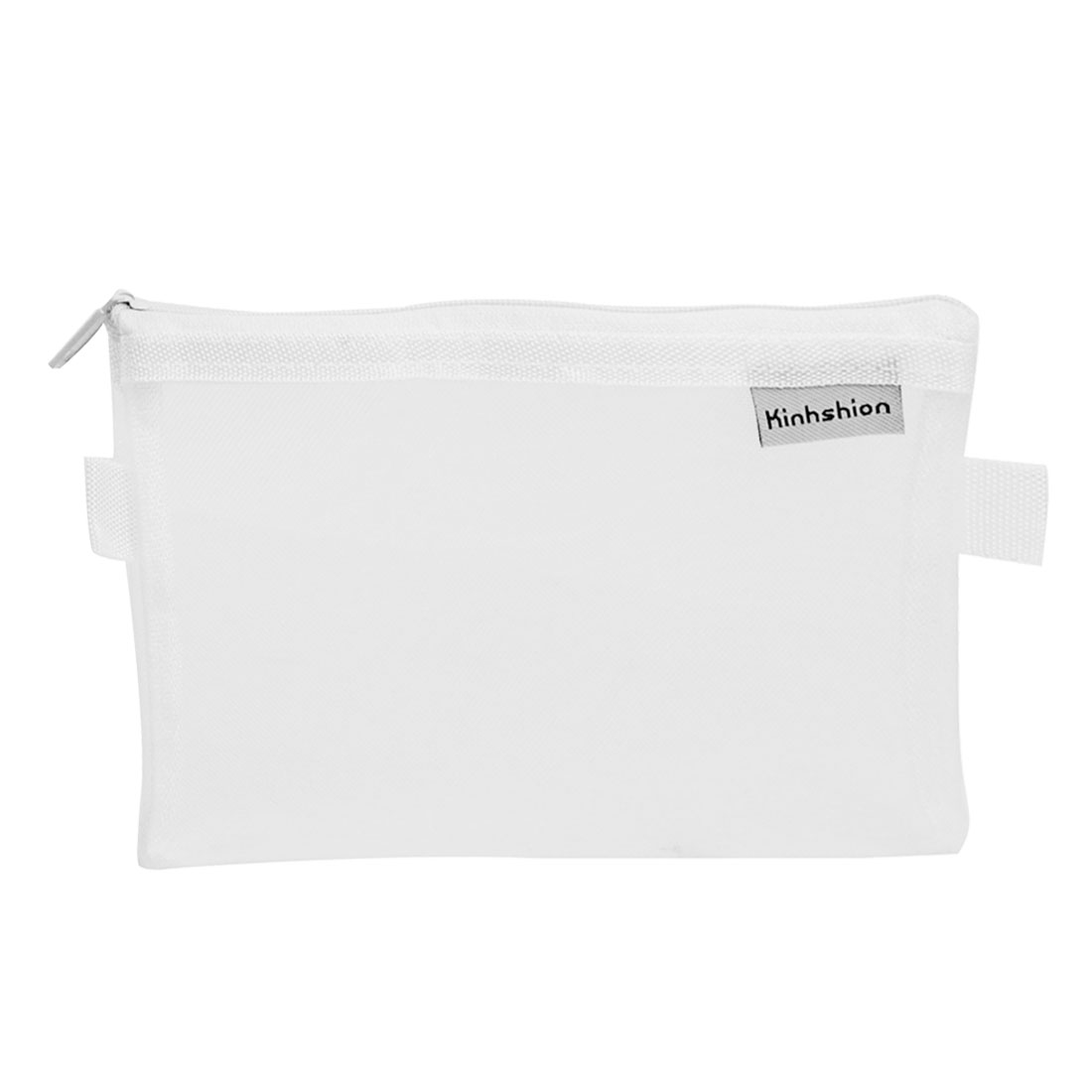 Zip up Nylon Mesh Pencil Pen Stationary Holder Case Bag White for Students