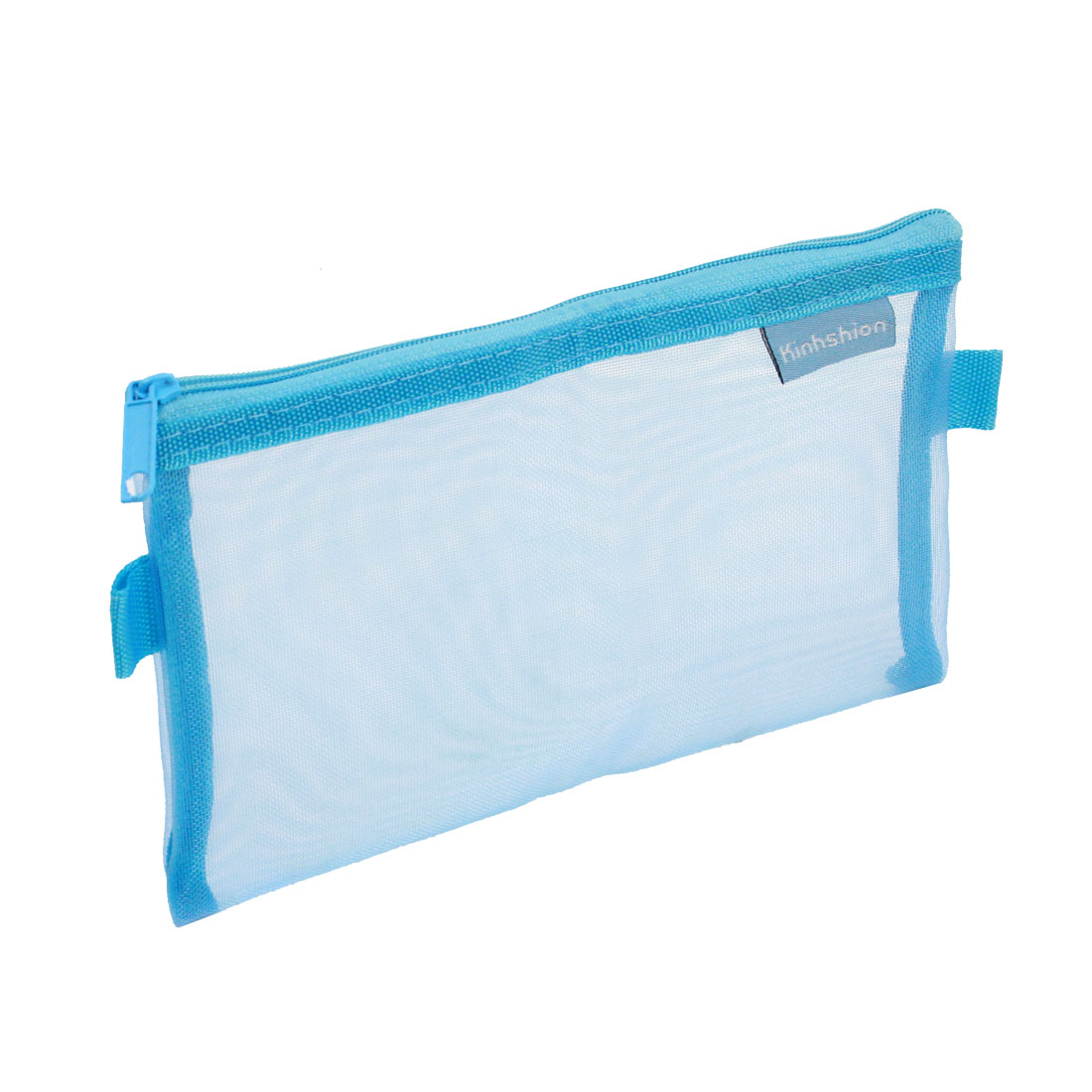 Zip up Nylon Mesh Pencil Pen Stationary Holder Case Bag Blue for Students
