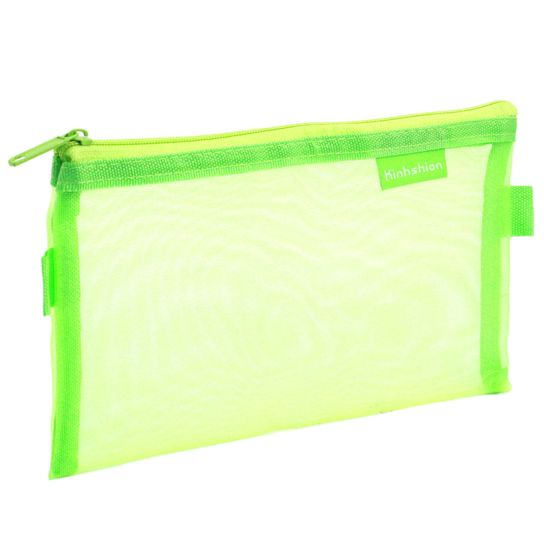 Office Nylon Mesh Zipper Closure Pencil Pen Stationary Holder Eraser Bag Green