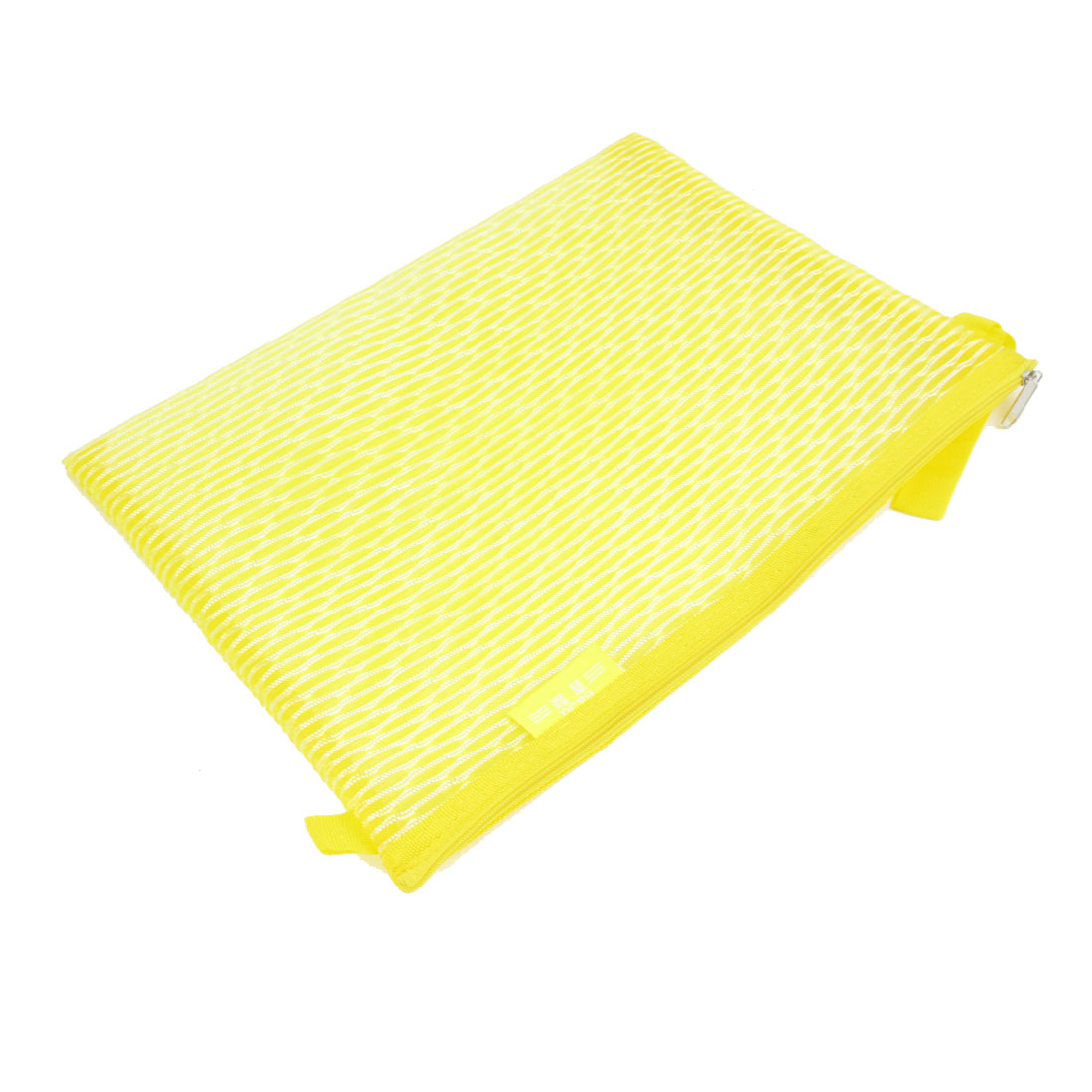 PVC Gridding Zipper Closure A4 Paper File Bag Office Document Holder Yellow