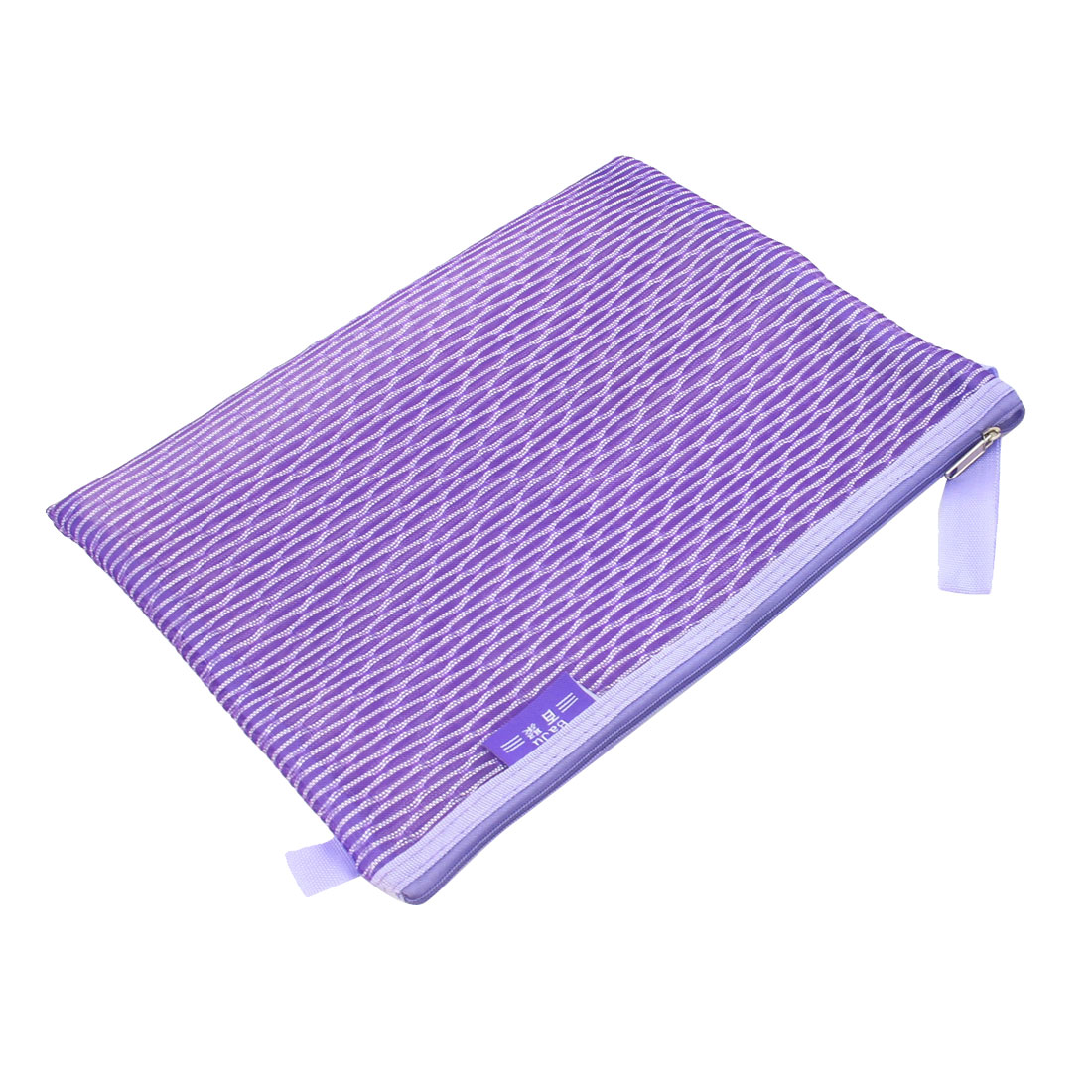 PVC Gridding Zipper Closure A4 Paper File Bag Office Document Holder Purple