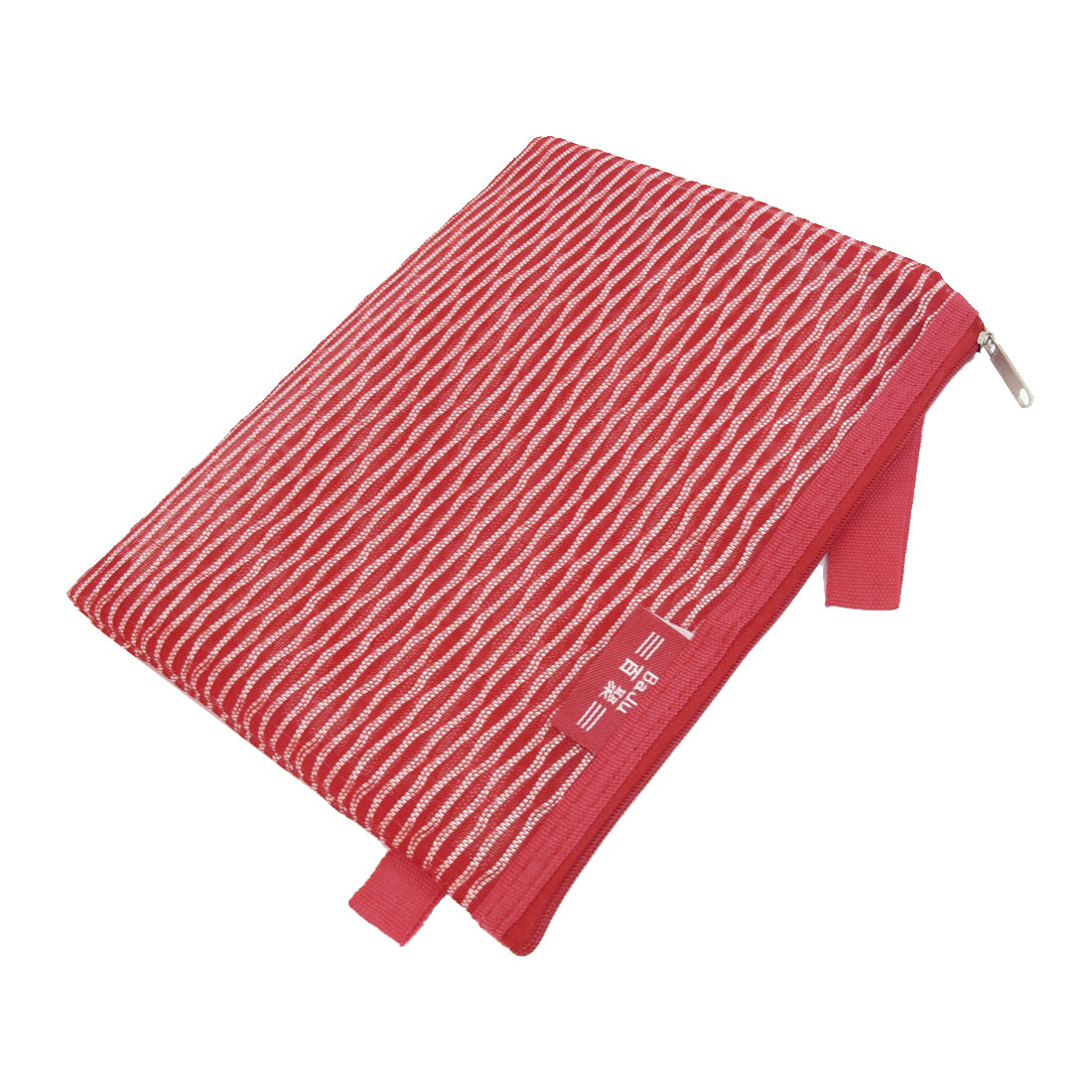 PVC Gridding Zipper Closure A4 Paper File Bag Office Document Holder Red