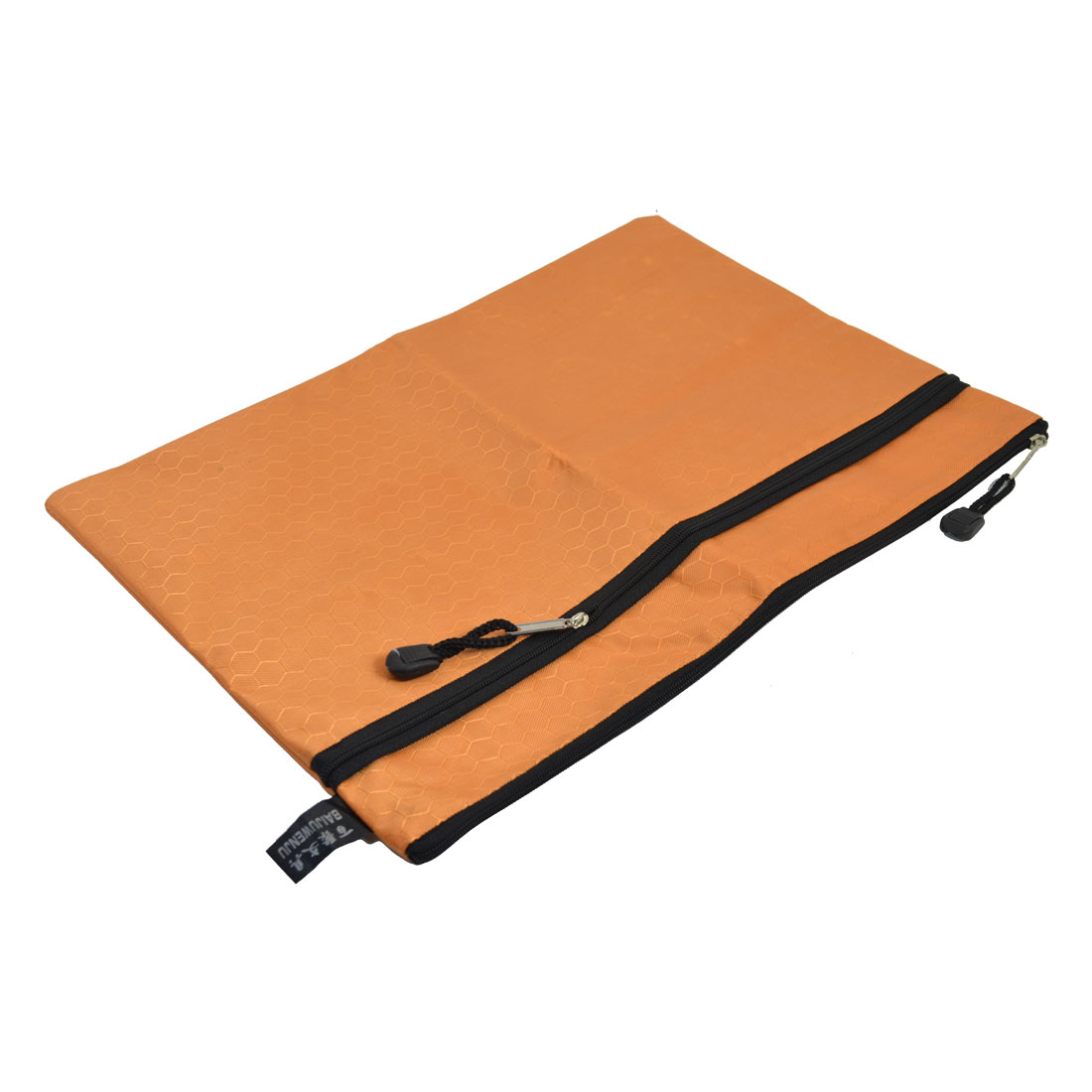 Zipper Closure Hexagon Pattern 2 Slots A4 Paper Files Holder Zipper Bag Orange