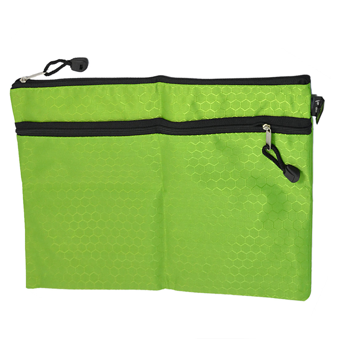 Rectangle 2 Compartments Green Nylon Hexagon Printed A4 Paper File Storage Bag
