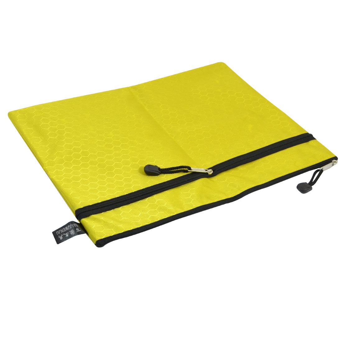 Yellow Nylon Hexagon Printed 2 Slots A4 Files Document Organizer Zipper Bag