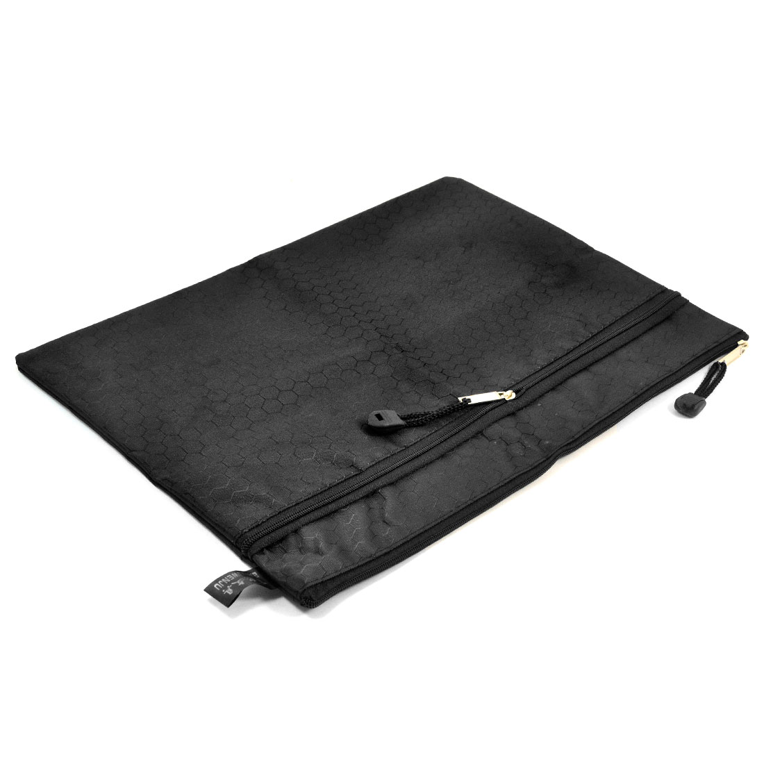 Portable Rectangle 2 Slots Black Nylon Hexagon Printed A4 Paper File Storage Bag