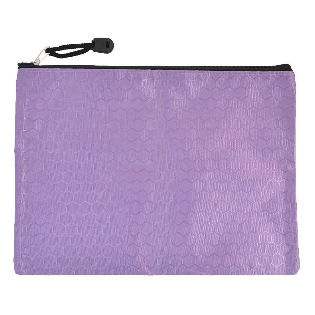 Hexagon Printed Zipper Closure A5 Papers Files Storage Bag Holder Purple