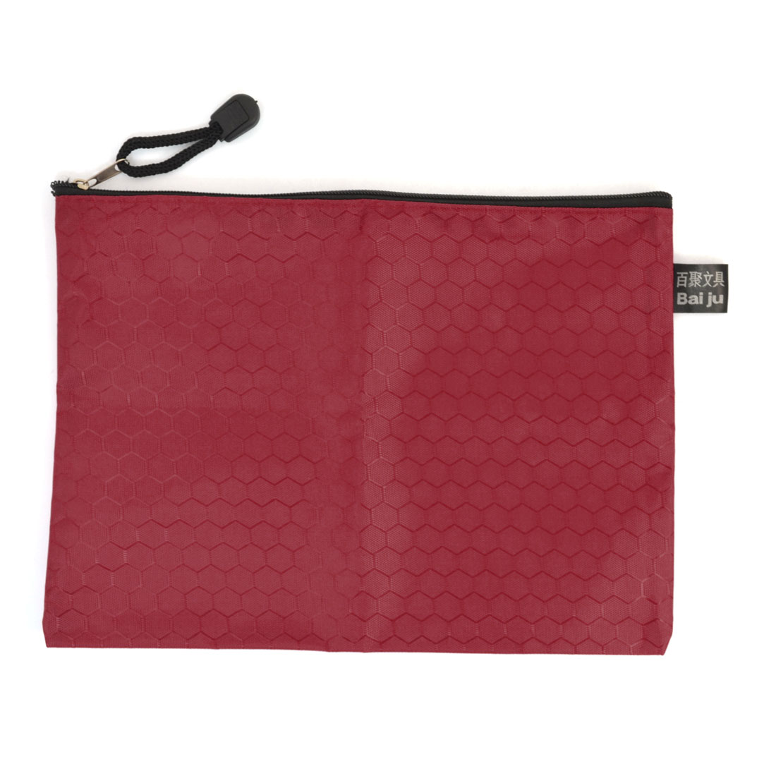 Portable 24cm Long Hexagon Print Nylon Zipper Closure A5 Paper Files Red
