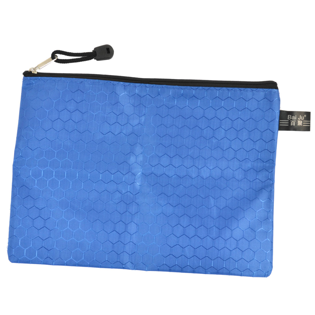 Portable Rectangle Dark Blue Zipper Closure A5 Paper Files Organizer Storage Bag