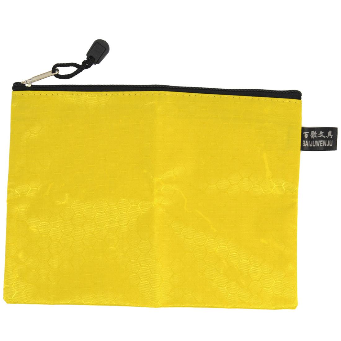 "9"" Length Hexagon Printed Nylon Zipper Closure A5 Paper Document Bag Yellow"