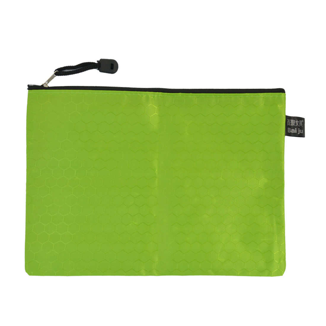 Zipper Closure Hexagon Pattern A5 Paper Files Document Organizer Bag Green