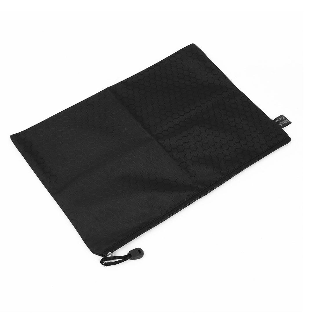 School Office Hexagon Pattern A5 Paper Document Pen Holder Zipper Bag Black