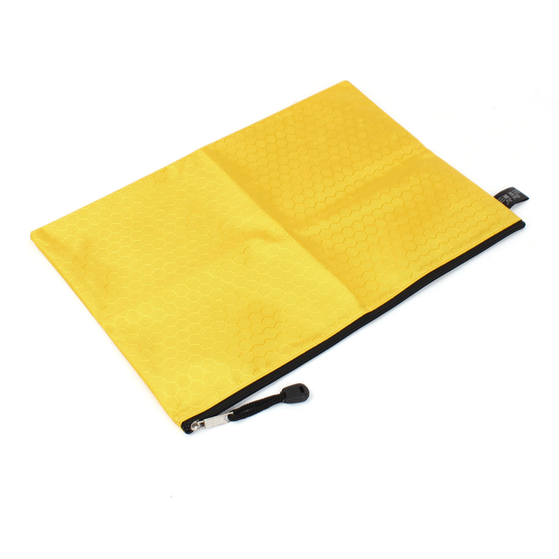 Yellow Zip up Nylon Hexagon Pattern A4 Paper Files Document Bag Holder Container
