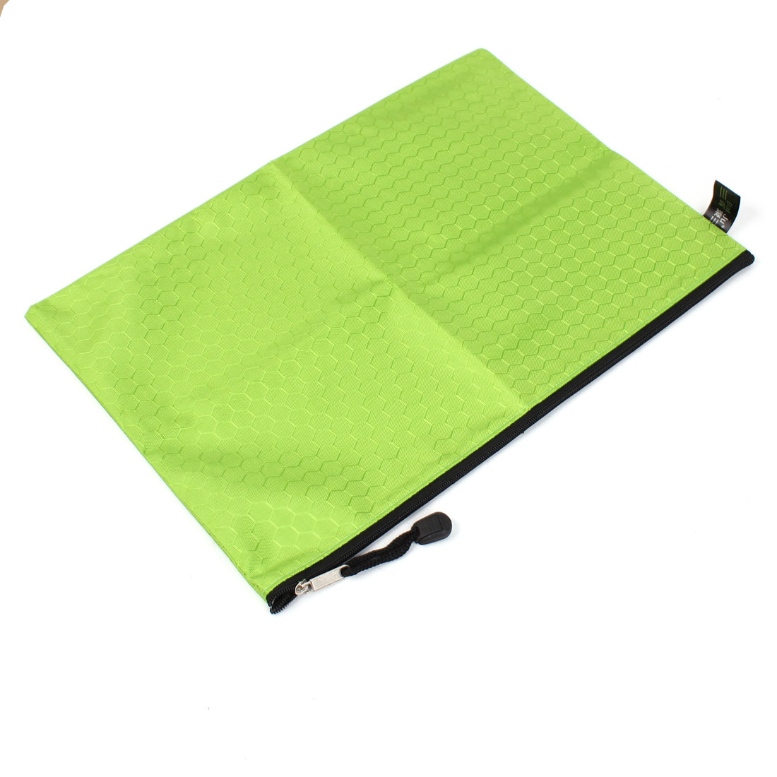 Portable Green Nylon Hexagon Pattern A4 Paper Document Files Holder Zipper Bag