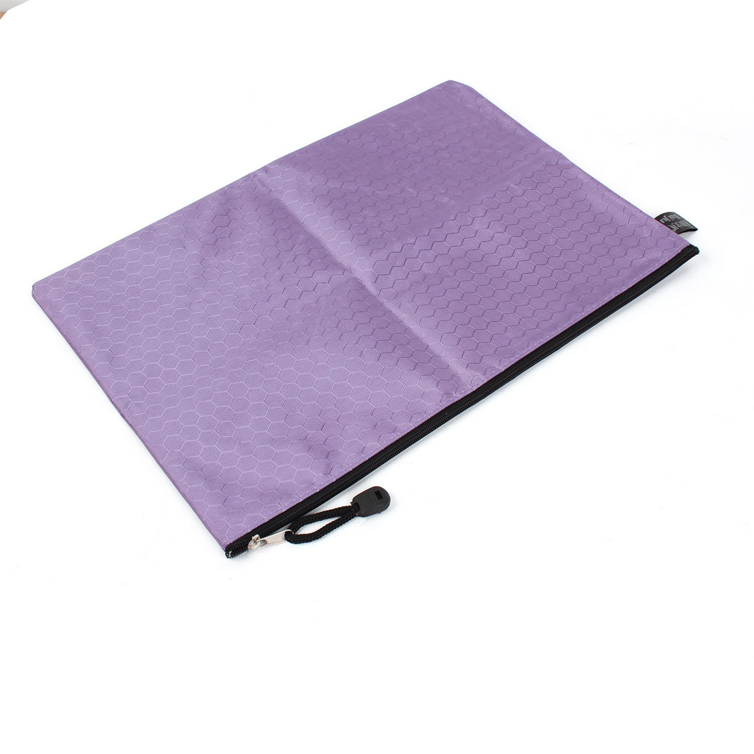School Stationery Zipper Closure Nylon A4 Paper Files Document Holder Bag Purple