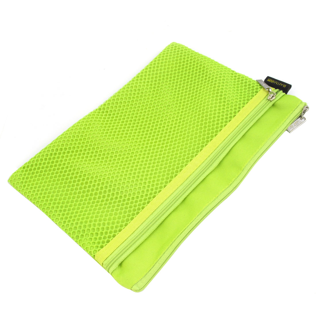 Two Compartments Canvas Zipper Closure A5 File Bag Document Holder Green